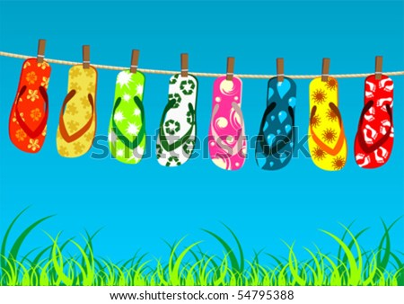 stock vector : Beach sandals. Different colorful flip-flops hanged on a rope