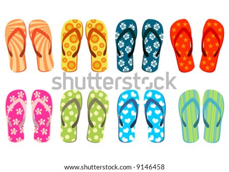 stock vector : Beach sandals. Different colorful flip-flops over white