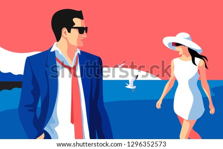 Beach scene. Resort holidays. Two lovers, man and woman, walking on the beach. Vector illustration