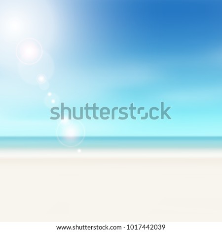 Beach scene - summer horizon background with lens flares - sunny vacation concept with blue sky, water and sand