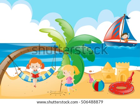 beach scene with kids playing