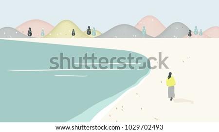 beach scenery landscape  girl