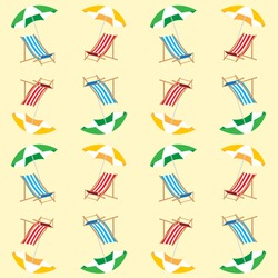 Beach seamless pattern for summer. Vector background. Summer time. Umbrella and deckchair on the beach.Summer background.