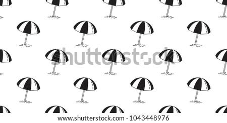 Beach Seamless Pattern Umbrella Isolated Summer Ocean Sea Vector Wallpaper Illustration Doodle Cartoon Background
