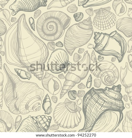 Beach Seashell Pattern - stock vector