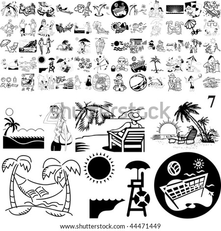 Beach set of black sketch. Part 101-17. Isolated groups and layers.
