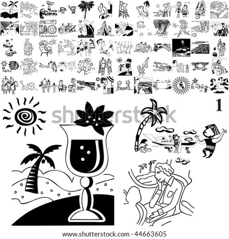 Beach set of black sketch. Part 102-1. Isolated groups and layers.