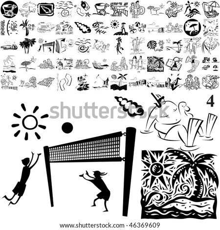 Beach set of black sketch. Part 105-14. Isolated groups and layers. - stock vector