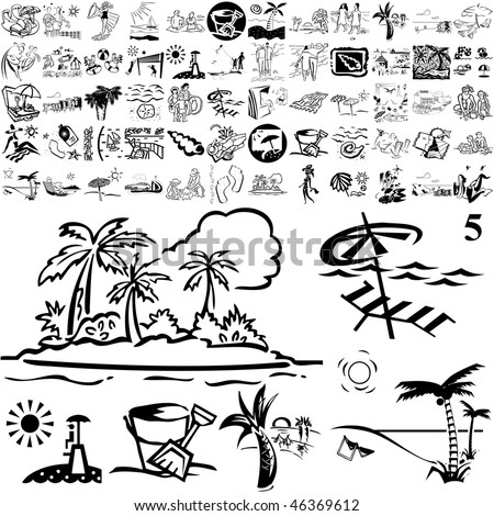 Beach set of black sketch. Part 105-15. Isolated groups and layers.