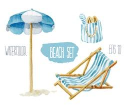 Beach set. Vector Watercolor illustration.