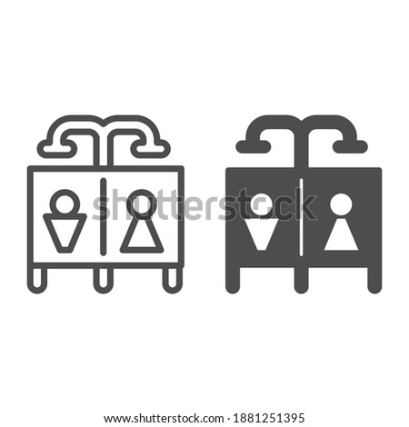 Beach shower line and solid icon, waterpark concept, Public shower sign on white background, Summer beach or pool shower icon in outline style for mobile concept and web design. Vector graphics.
