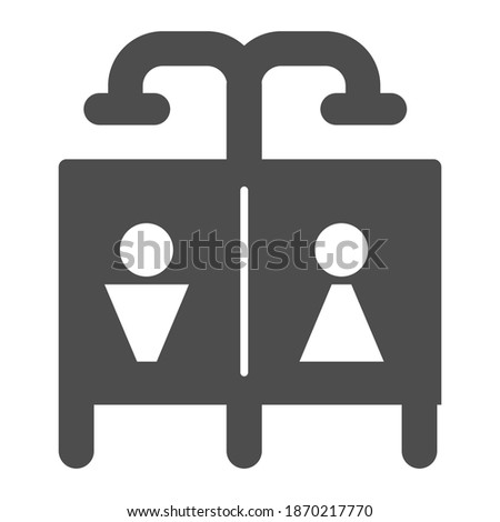 Beach shower solid icon, waterpark concept, Public shower sign on white background, Summer beach or pool shower icon in glyph style for mobile concept and web design. Vector graphics.