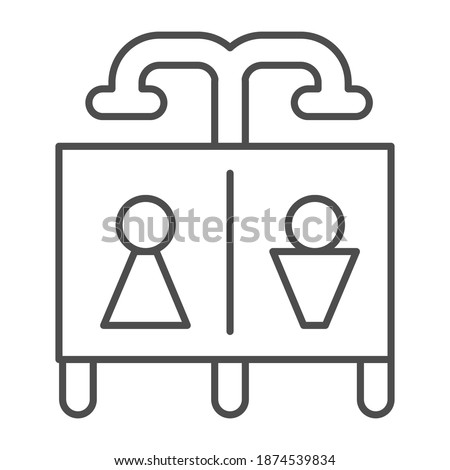 Beach shower thin line icon, waterpark concept, Public shower sign on white background, Summer beach or pool shower icon in outline style for mobile concept and web design. Vector graphics.