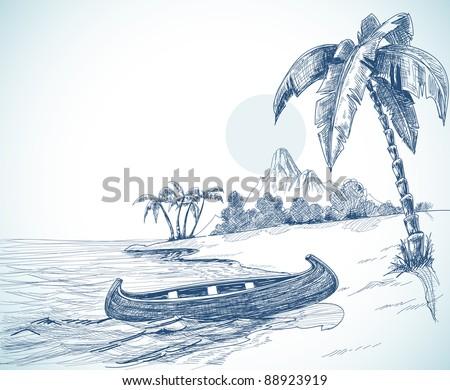 Beach Shore Pencil Drawing