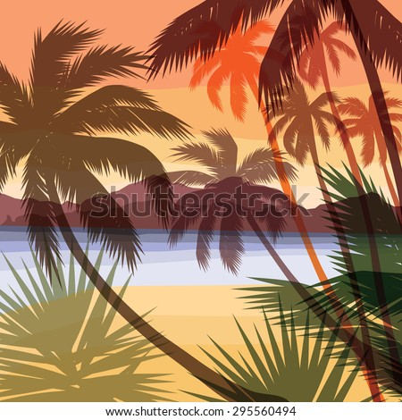 beach summer background vector
