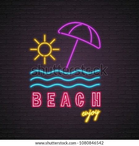 Beach Summer Neon Light Glowing Sun, Umbrella, Sea Element with Dark Background