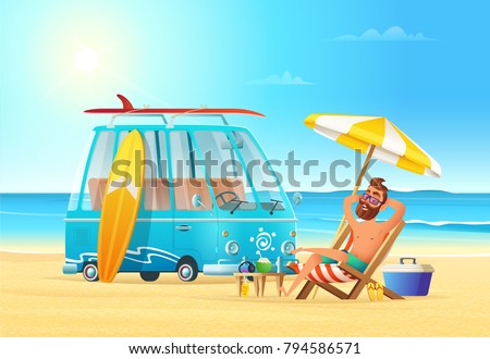 beach summer vacation car