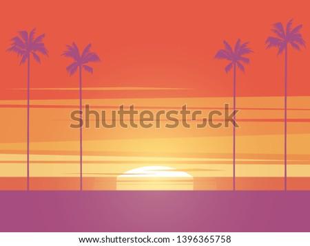 beach sunset vector concept