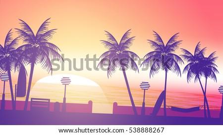 beach sunset walkway   vector