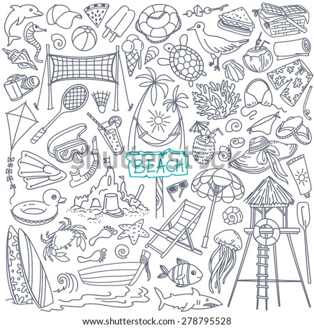 Beach theme doodle set. Various seaside sport activities and relaxation - surfing, beach volley, diving, swimming, sun tanning. Wildlife of the coast - seagull, crab, shark, jellyfish, seashells
