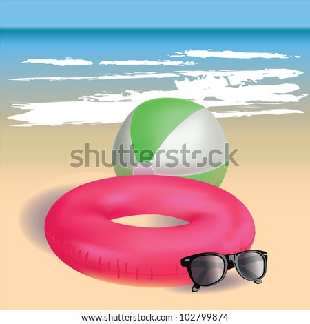 Beach theme. Summer tropical background, mesh vector illustration.