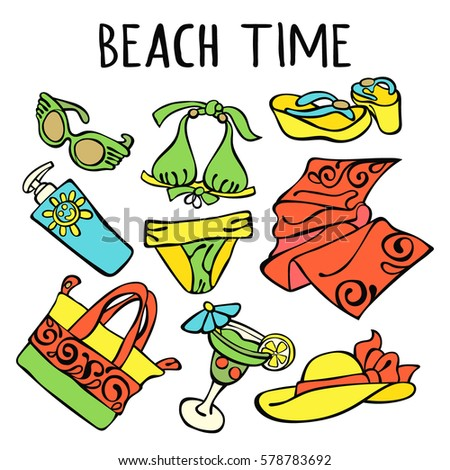 Beach time. Swimsuit, straw hat, flip flops, cocktail, beach bag, beach towel, sunglasses, sunscreen. Isolated vector objects on white background.
