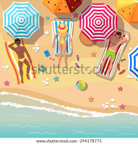 beach top view background with
