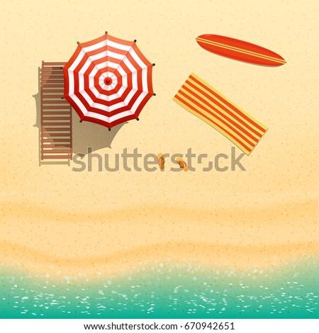 Beach top view - flip flops, surfboard, umbrella, lounger. realistic vector illustration