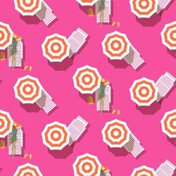 Beach top view seamless vector pattern. Retro style riviera umbrellas on pink beach background.