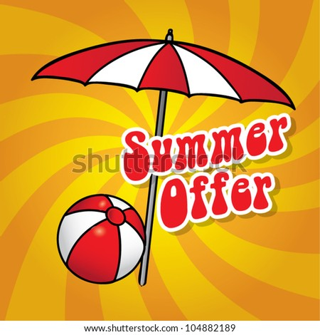 Beach umbrella and playing ball on dynamic background, summer sea time, special offer travel concept, vector illustration