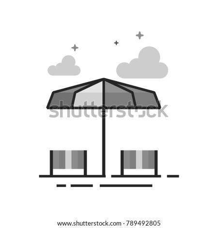 beach umbrella icon in flat