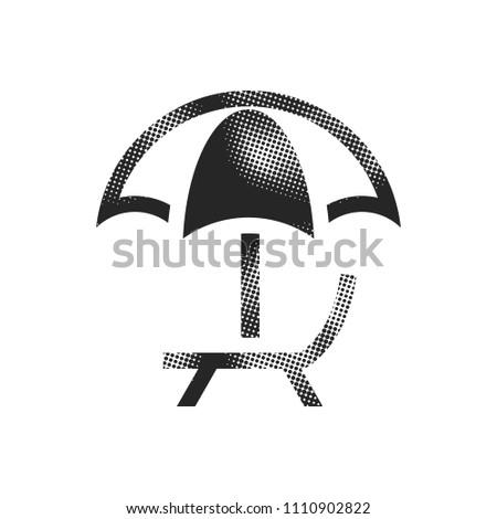 beach umbrella icon in halftone
