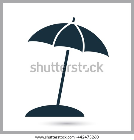 Beach umbrella icon on the background