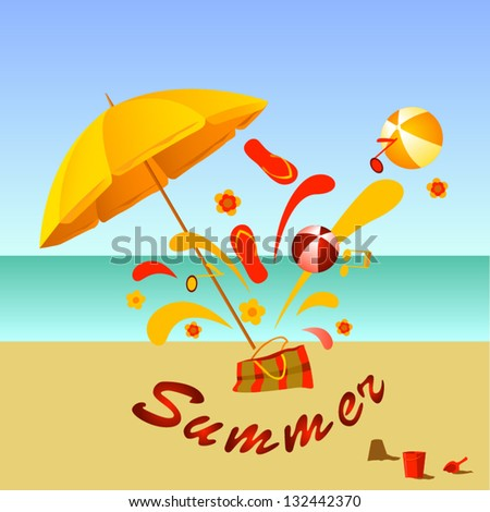 beach  umbrella on sunny sea