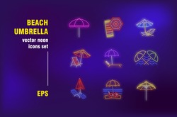 Beach umbrella set in neon style. Sea, sun, sand and summer. Vector illustrations for night bright advertisement. Vacation, leisure and travelling concept