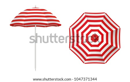 Beach umbrella set. Red striped design. Isolated for all backgrounds.
