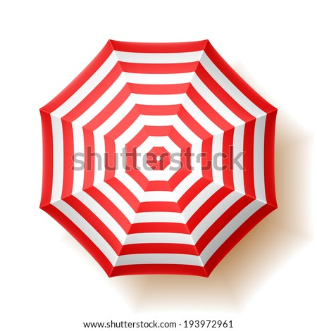 Beach umbrella, top view. Vector.