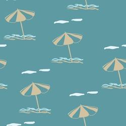 Beach umbrella. Vector seamless pattern on a blue background. Marine theme.