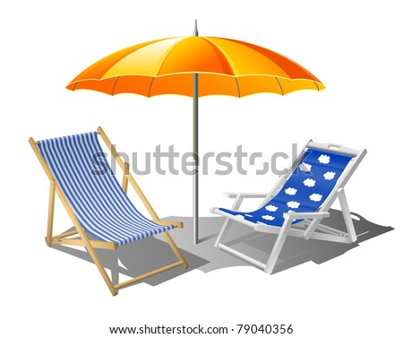 beach umbrella with deck chairs eps8