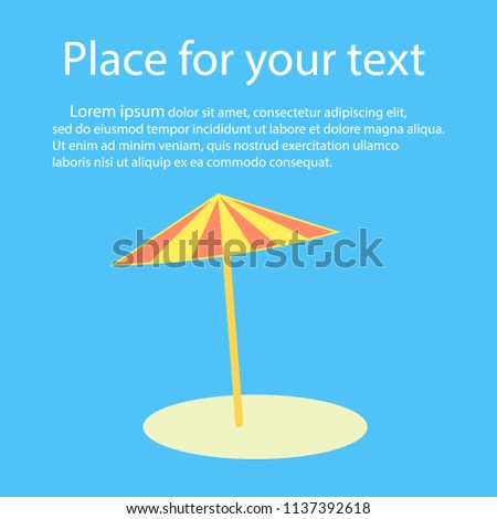 Beach umbrella with shadow. With space for text. Vector illustration. - Shutterstock ID 1137392618
