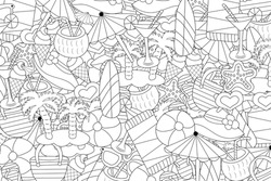 Beach, vacation, and recreation concept. Summer background design. Black and white outline coloring game. Hand drawn doodle style.  Vector illustration.