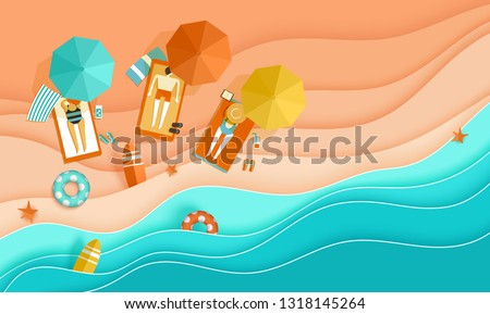 Beach vacation Tiny people sunbathe on a tropical beach, Top view background with sea waves, sand, men and women, umbrella, deck chair, surfboard, starfish, papercut, paper craft Place for text