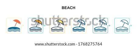 beach vector icon in 6