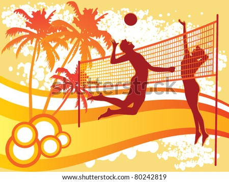 beach volley vector - stock vector