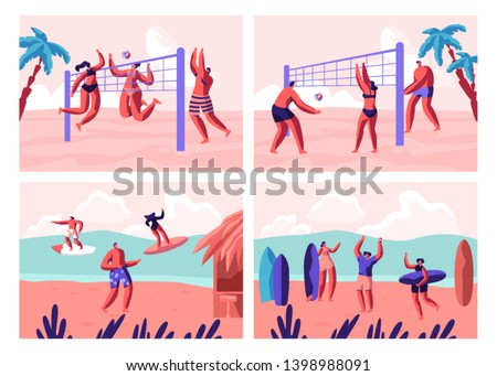 Beach Volleyball and Surfing Set. People Playing with Ball on Seaside and Surf Boards on Sea Waves. Sports Activity on Summer Time Vacation Leisure, Recreation, Sport. Cartoon Flat Vector Illustration