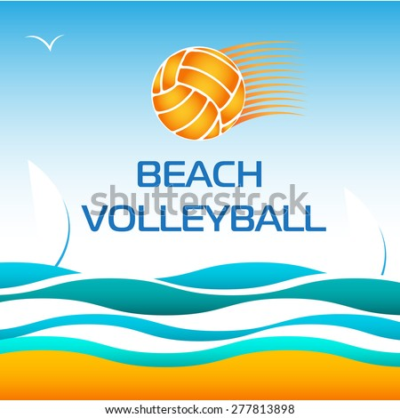 beach volleyball bright vector