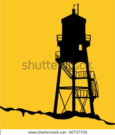 Beach Watch Tower - stock vector