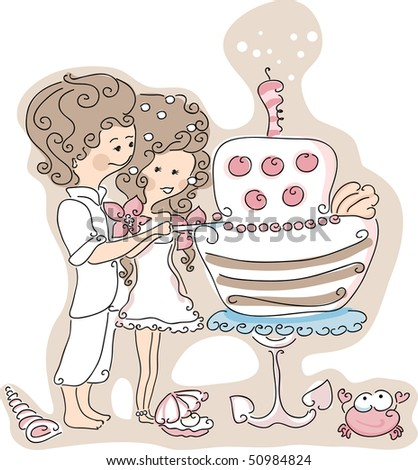 stock vector beach wedding set couple cutting the wedding cake