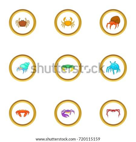 beach wildlife icons set