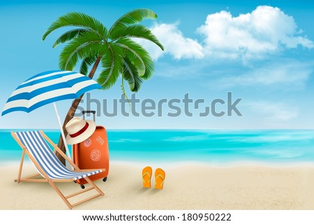 beach with palm trees and beach
